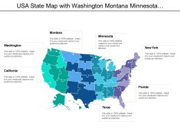 Usa State Map With Washington Montana Minnesota New York Texas