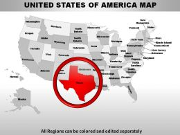 USA Texas State Powerpoint Maps