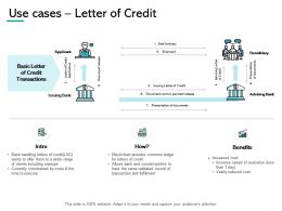 Use Cases Letter Of Credit Benefits Sale Ppt Powerpoint Presentation Gallery Sample