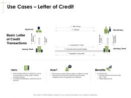 Use Cases Letter Of Credit Sale Marketing Ppt Powerpoint Presentation Gallery Ideas