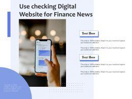 Use Checking Digital Website For Finance News