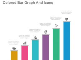 use Colored Bar Graph And Icons For Marketing Product Development Flat Powerpoint Design