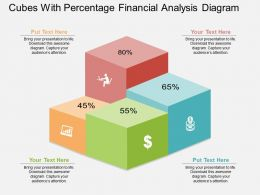 use Cubes With Percentage Financial Analysis Diagram Flat Powerpoint Design