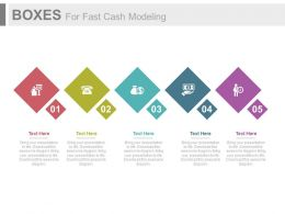 use Five Boxes For Fast Cash Modeling Flat Powerpoint Design
