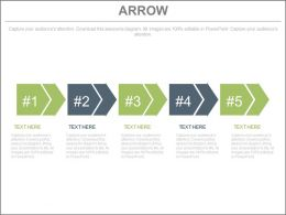use Five Staged Arrow Diagram For Process Flow Flat Powerpoint Design