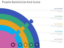 use Five Staged Puzzle Semicircle And Icons Flat Powerpoint Design