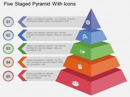 use Five Staged Pyramid With Icons Flat Powerpoint Design