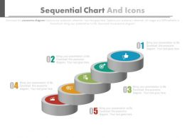 use Five Staged Sequential Chart And Icons For Financial Management Flat Powerpoint Design