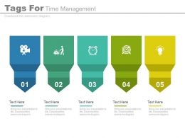 use Five Staged Tags For Time Management Flat Powerpoint Design