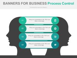 use Four Banners For Business Process Control Flat Powerpoint Design