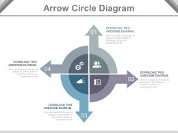 use Four Staged Arrow Circle Diagram Flat Powerpoint Design