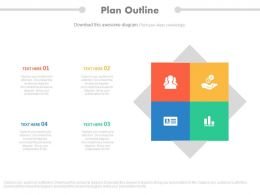 use Four Staged Infographics And Icons For Company Profile Management Flat Powerpoint Design