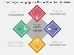 use Four Staged Infographics Corporation Swot Analysis Flat Powerpoint Design