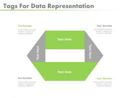 use Four Staged Tags For Data Representation Flat Powerpoint Design
