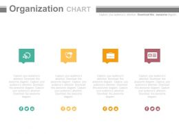 use Four Text Boxes And Icons Organizational Chart Flat Powerpoint Design