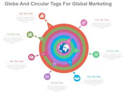 use Globe And Circular Tags For Global Marketing Flat Powerpoint Design