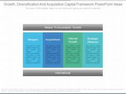 Use Growth Diversification And Acquisition Capital Framework Powerpoint Ideas