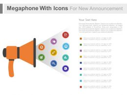 use Megaphone With Icons For News Announcement Flat Powerpoint Design