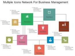 use Multiple Icons Network For Business Management Flat Powerpoint Design