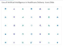 Use Of Artificial Intelligence In Healthcare Delivery Icons Slide Ppt Powerpoint Presentation