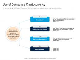 Use Of Companys Cryptocurrency Pitch Deck For Cryptocurrency Funding Ppt Icons
