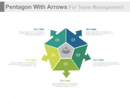 use Pentagon With Arrows For Team Management Flat Powerpoint Design