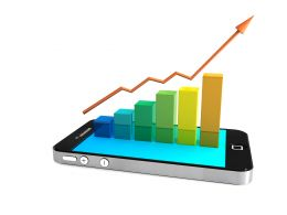 Use Phone For Data Graph Stock Photo