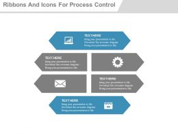 use Six Ribbons And Icons For Process Control Flat Powerpoint Design