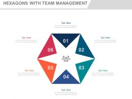 use Six Staged Hexagons With Team Management Flat Powerpoint Design