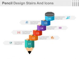 use Six Staged Pencil Design Stairs And Icons Flat Powerpoint Design