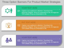 use Three Option Banners For Product Market Strategies Flat Powerpoint Design