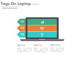 use Three Staged Tags On Laptop And Icons Flat Powerpoint Design