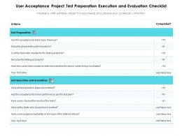 User Acceptance Project Test Preparation Execution And Evaluation Checklist