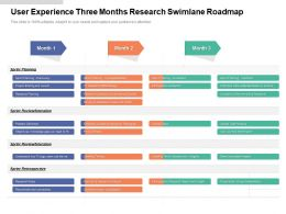User Experience Three Months Research Swimlane Roadmap