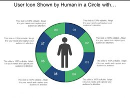 User Icon Shown By Human In A Circle With 8 Segments