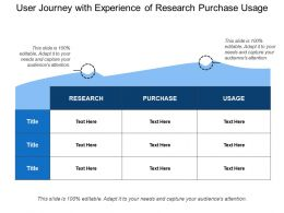 User Journey With Experience Of Research Purchase Usage