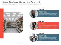 Users Reviews About The Product Investment Pitch Presentations Raise Ppt Show Diagrams