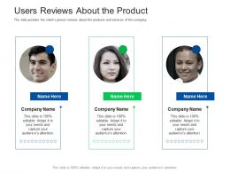 Users Reviews About The Product Investor Pitch Presentation Raise Funds Financial Market
