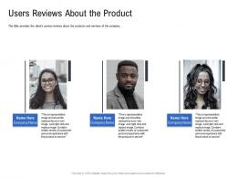 Users Reviews About The Product Pitch Deck To Raise Funding From Spot Market Ppt Background