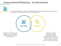 Using Chatbot Marketing Capturing More Leads Conversational Marketing An Introduction Ppt Powerpoint Slide