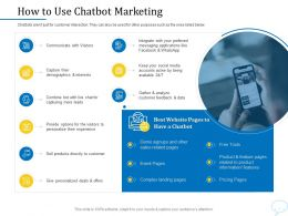 Using Chatbot Marketing Capturing More Leads How To Use Chatbot Marketing Ppt Powerpoint Presentation Ideas
