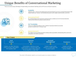 Using Chatbot Marketing Capturing More Leads Unique Benefits Of Conversational Marketing Ppt Maker