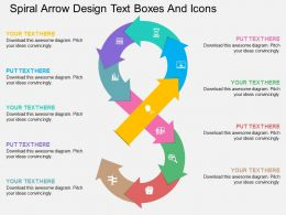 ut Spiral Arrow Design Text Boxes And Icons Flat Powerpoint Design
