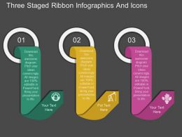 uv Three Staged Ribbon Infographics And Icons Flat Powerpoint Design