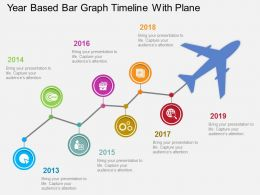uw_year_based_bar_graph_timeline_with_plane_flat_powerpoint_design_Slide01
