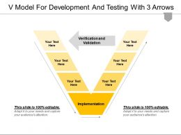 V Model For Development And Testing With 3 Arrows