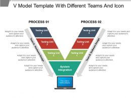 V Model Template With Different Teams And Icon
