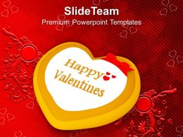 Valentine Cake Decorated Heart Occasion PowerPoint Templates PPT Themes And Graphics 0213