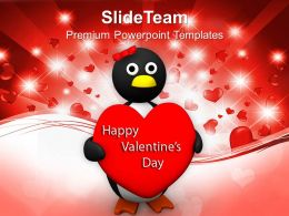 Valentine Heart Holding Penguin Wings Heart PowerPoint Templates PPT Themes And Graphics 0213