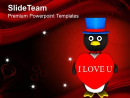 Valentine Penguin Celebration PowerPoint Templates PPT Themes And Graphics 0213